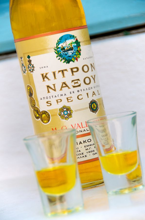 Kitron Naxou is a lemon liqueur produced on the Greek island of Naxos. It is made from the fruit and leaves of the citron tree, which is similar to the lemon tree but stronger and slightly different in taste. Kitron comes in three varieties. The green variety is sweeter and contains less alcohol. The yellow variety is the strongest and has the least sugar. Clear Kitron is somewhere in between, and is perhaps the best for a new drinker to sample.