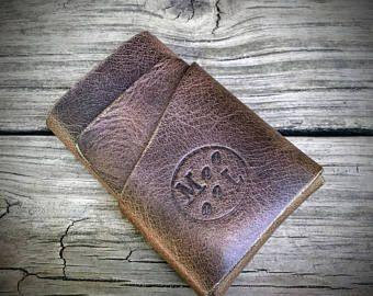 Abrigo de cuero Horween Chromexcel carpeta, monedero pequeño, cartera minimalista, monedero, monedero de la tarjeta de crédito, cuero marrón monedero, billetera de los hombres Slim