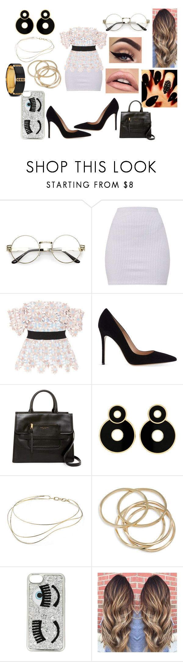 """""""Work 😇"""" by shayma-sheikh ❤ liked on Polyvore featuring self-portrait, Gianvito Rossi, Marc Jacobs, Elsa Peretti, ABS by Allen Schwartz and Chiara Ferragni"""