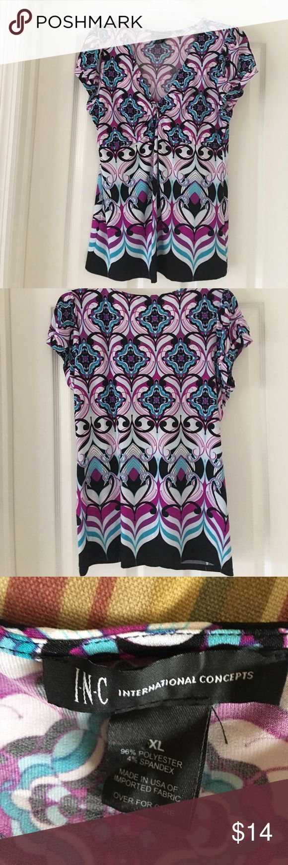 Inc.  Top Multi Color Top Size XL Inc. International Concepts by Macy's Top. Multi Color Short Sleeve,  V Neck. Looks great with Jeans or Shorts. EUC INC International Concepts Tops