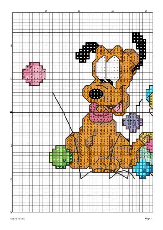 Baby Pluto & Goofy 1 of 3 _crossstich on baby clothes_  para o bebé