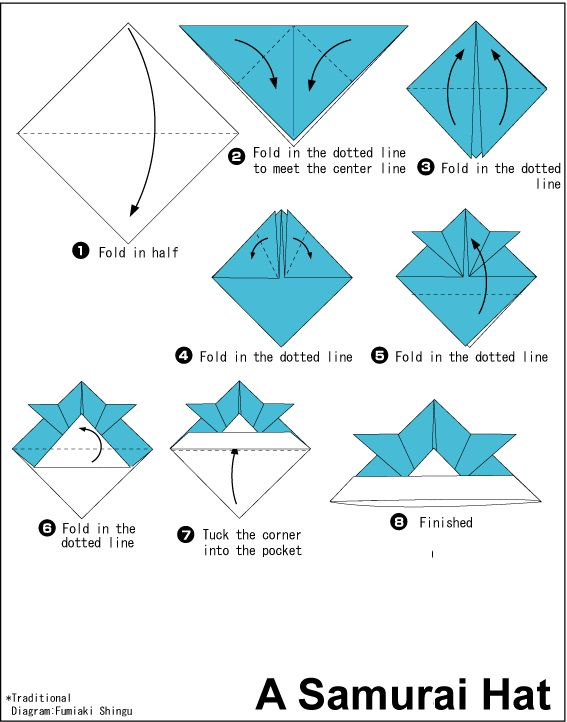 origami+images+with+instructions | Origami Instruction: A Samurai Hat