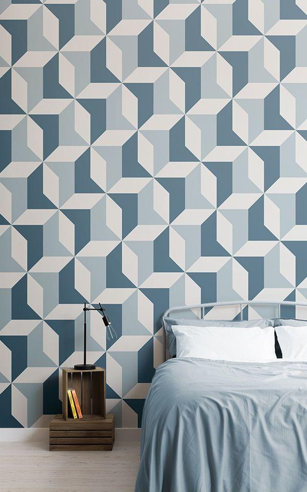Abstrakte blaue geometrische Tapete Tapeten Wandbilder Pinterest