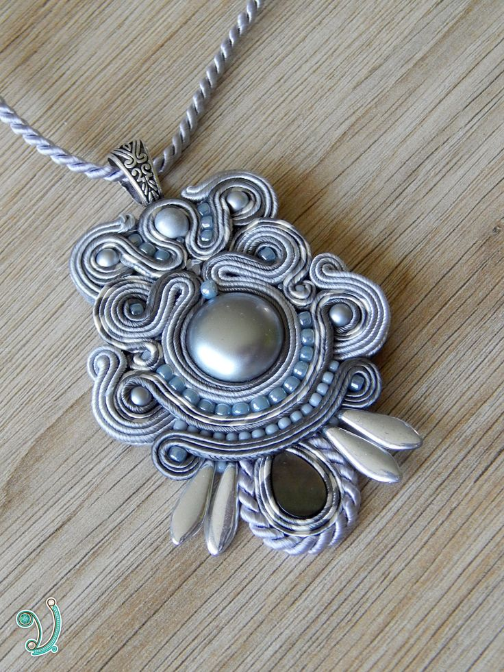 Grey and silver soutache pendant, Soutache jewelry, Vikisoutache
