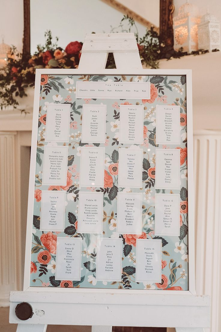 Riffle & Co. Table Plan | English/Indian Fusion Wedding | Northbrook Park | Lemonade Pictures | http://www.rockmywedding.co.uk/riya-rich/