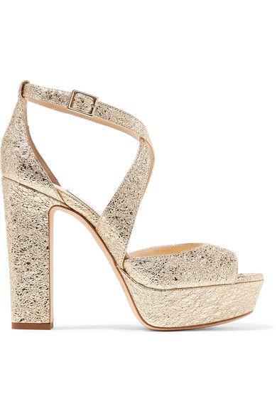 Jimmy Choo - April Metallic Crinkled-leather Platform Sandals - Gold - IT37.5