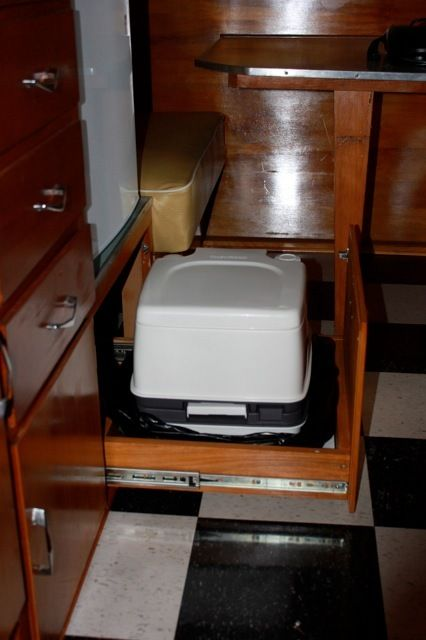 1962 Shasta Airflyte 16 Porta Potty Mounted In Pull Out Drawer Under Original Stove