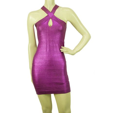 PINKO Purple Stretch Bodycon Mini Length Viscose Elastan Sleevless Dress sz S