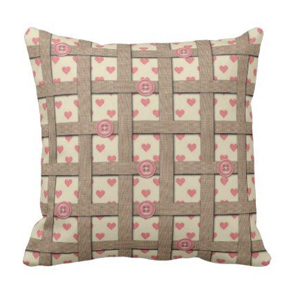 Heart Print Pattern - Weave Burlap Fabric Ribbon Throw Pillow - rose style gifts diy customize special roses flowers