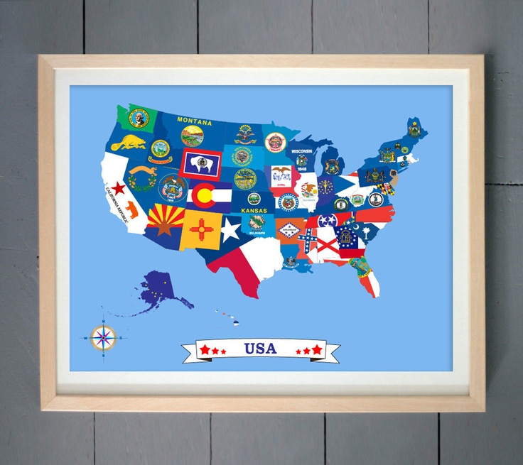Amazing USA Map Design Made With State Flags ART PRINT X - Us state flag map
