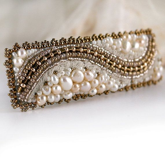 White pearl Hair piece White ivory wedding embroidered от Eniya, €45.00