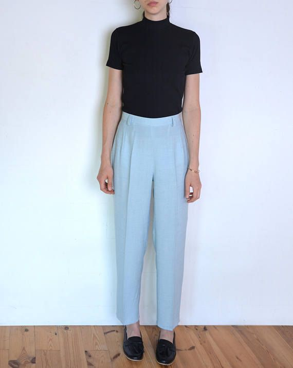 90's light blue creased pants classic high waisted pants