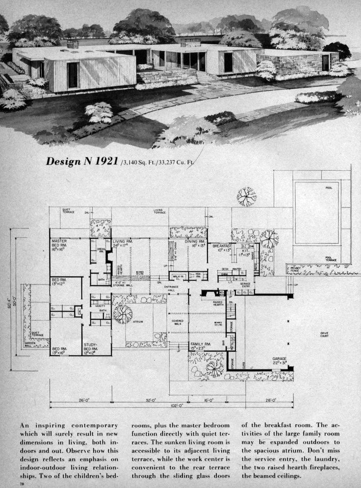 Modern House Plans, Modern Houses, Modern Buildings, Home Planner, Mid  Century House, Mid Century Modern Home, Building Plans, House Design,  Planners