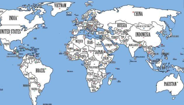 ¿Imaginas cómo se vería el mundo si los países más poblados ocuparan el lugar de los países más grandes? Descúbrelo con este mapa - Batanga