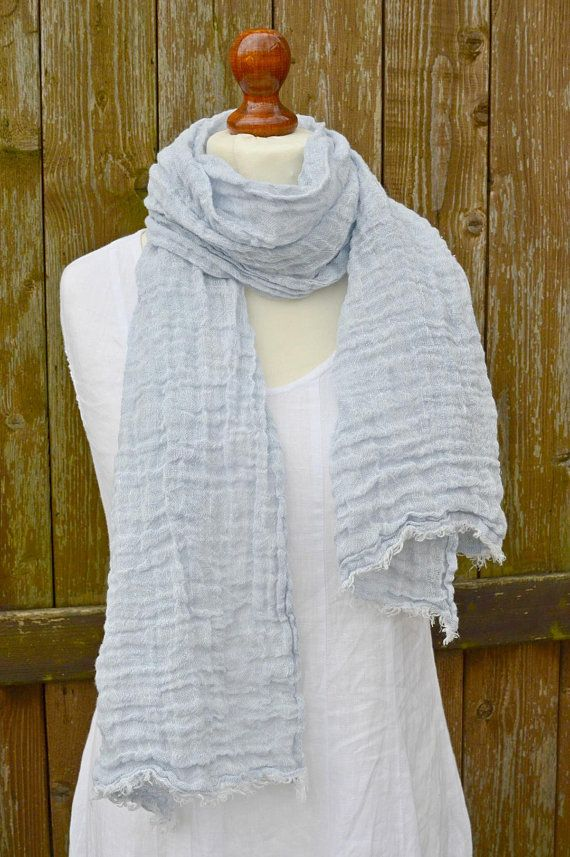 1411236680c Blue scarf, linen scarf, 100 linen, spring scarf, women scarf, mens ...