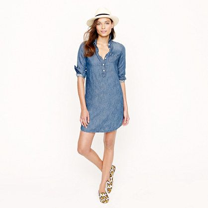Chambray shirt dress; pale; popover-style.