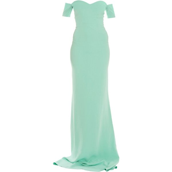 SAFIYAA Drop Shoulder Heartneck Gown ($897) ❤ liked on Polyvore featuring dresses, gowns, long dresses, long green evening dress, sweet heart dress, elbow length sleeve dress, sweetheart neckline dress and sweetheart gowns