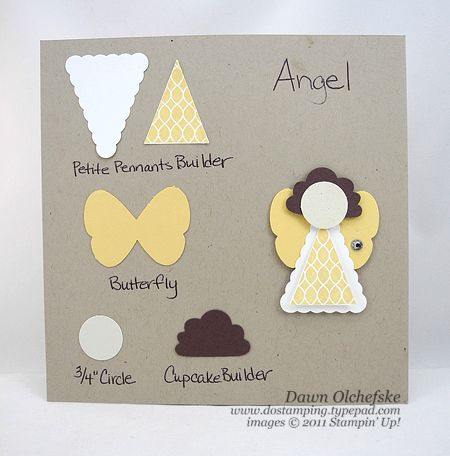 "Angel using Petite Pennants Builder, Butterfly, 3/4"" Circle and Cupcake Builder punches from Stampin' Up"