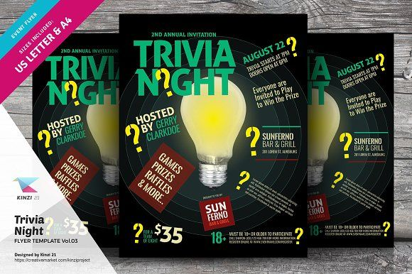 trivia night flyer template vol 03 by kinzi21 on creativemarket