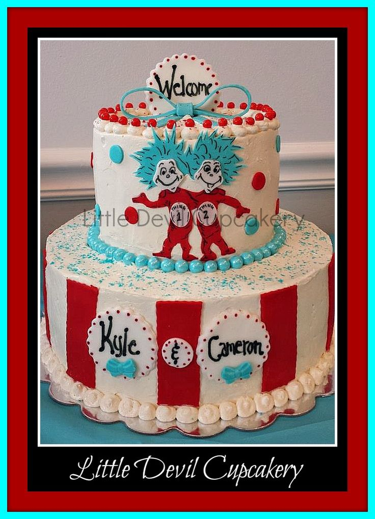 Thing 1 & Thing 2 Baby Shower Cake