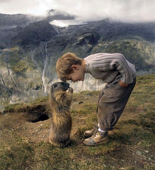 Friendship ~ Boy w/ His (GroundHog)?, Groslocker, Austria