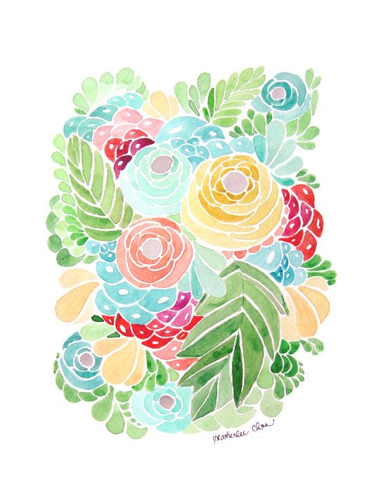 A modern flower watercolor print in tropical colors of green, turquoise, yellow, and reds.  Professionally printed using archival inks and Kodak Professional Endura paper with a lustre finish; will not include watermark  Frame and matting not included.  Copyright retained by artist, Heatherlee Chan  If you have any questions or requests feel free to message me. Thank you