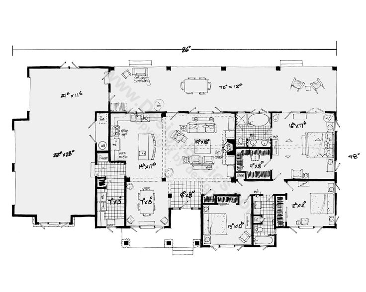 first floor plan of bungalow craftsman ranch house plan 43207