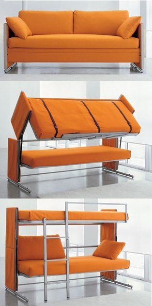 Sofa bed - bunk bed!: Decor, Idea, Couch, Bunk Beds, Color, Sofas Beds, Small Spaces, Guest Rooms, Kid