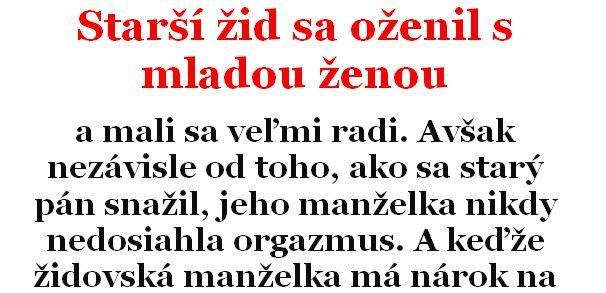 Vtip Dňa: Starší žid sa oženil s mladou ženou | Chillin.sk