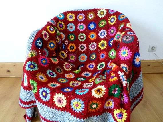 Bohemian Plaid crochet granny in red and multicolor wool