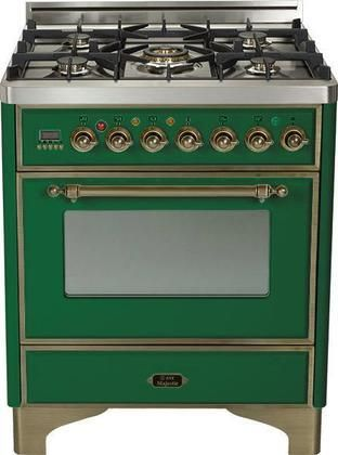 """UM-76-DMP-VS-Y 30"""" Majestic Series Freestanding Dual Fuel Range with 5 Sealed Burners 3.0 cu. ft. Primary Oven Capacity Convection Oven Warming Drawer Oiled Bronze Trim in Emerald Green"""