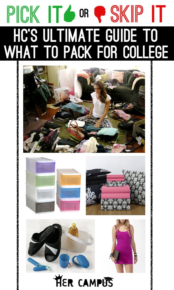 Pick It Or Skip It: Her Campus's Ultimate Guide to What to Pack for College GREAT WEBSITE!!!!!!!!!!!!