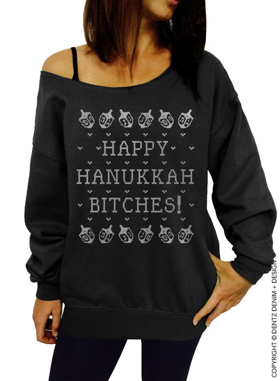 "Use coupon code ""pinterest"" Happy Hanukkah Bitches - Hanukkah Sweater - SALE - Black with Silver Slouchy Oversized Sweatshirt by DentzDenim"
