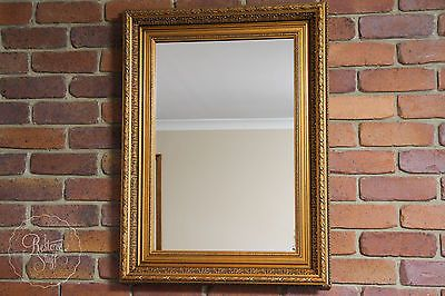 ANTIQUE FRAMED MIRROR - MIRROR RECENTLY REPLACED, FRAME ANTIQUE, GOLD