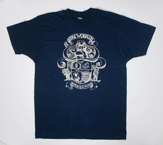 80s T Shirt Lake Wobegon S/M soft thin tee navy blue Screen