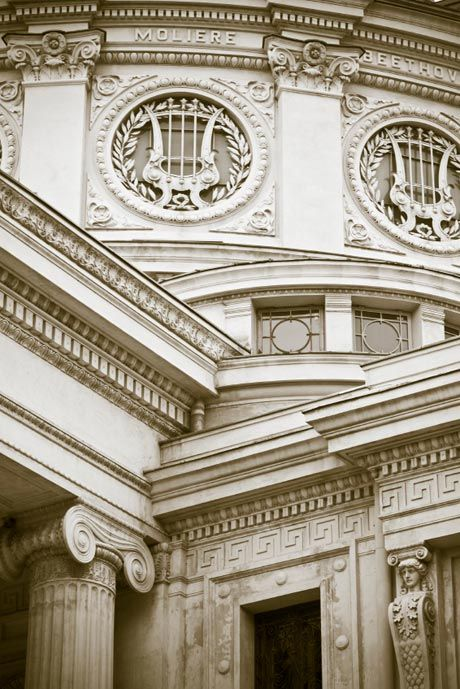 "A detail from the Romanian Athenaeum concert hall, a majestic building opened in 1888 after 28-year effort of public funding raising by The Romanian Atheneum Society, founded in 1865. French architect Albert Galleron choose an neo-classical style with romantic touches. Today it is home to the ""George Enescu"" Philharmonic."