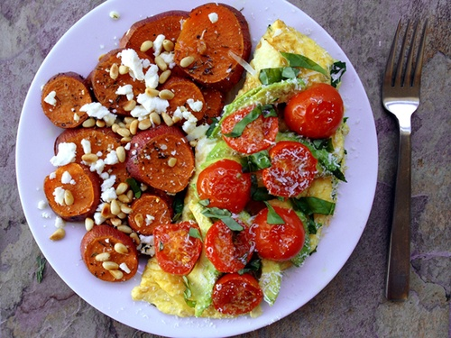 with feta cheese and toasted pine nuts and a spinach, bell pepper ...