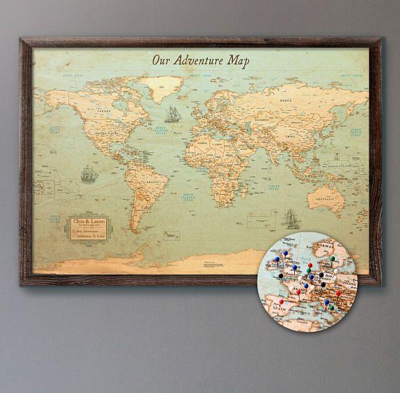 "Personalized Push Pin World Map 24x36"" Rustic Style"