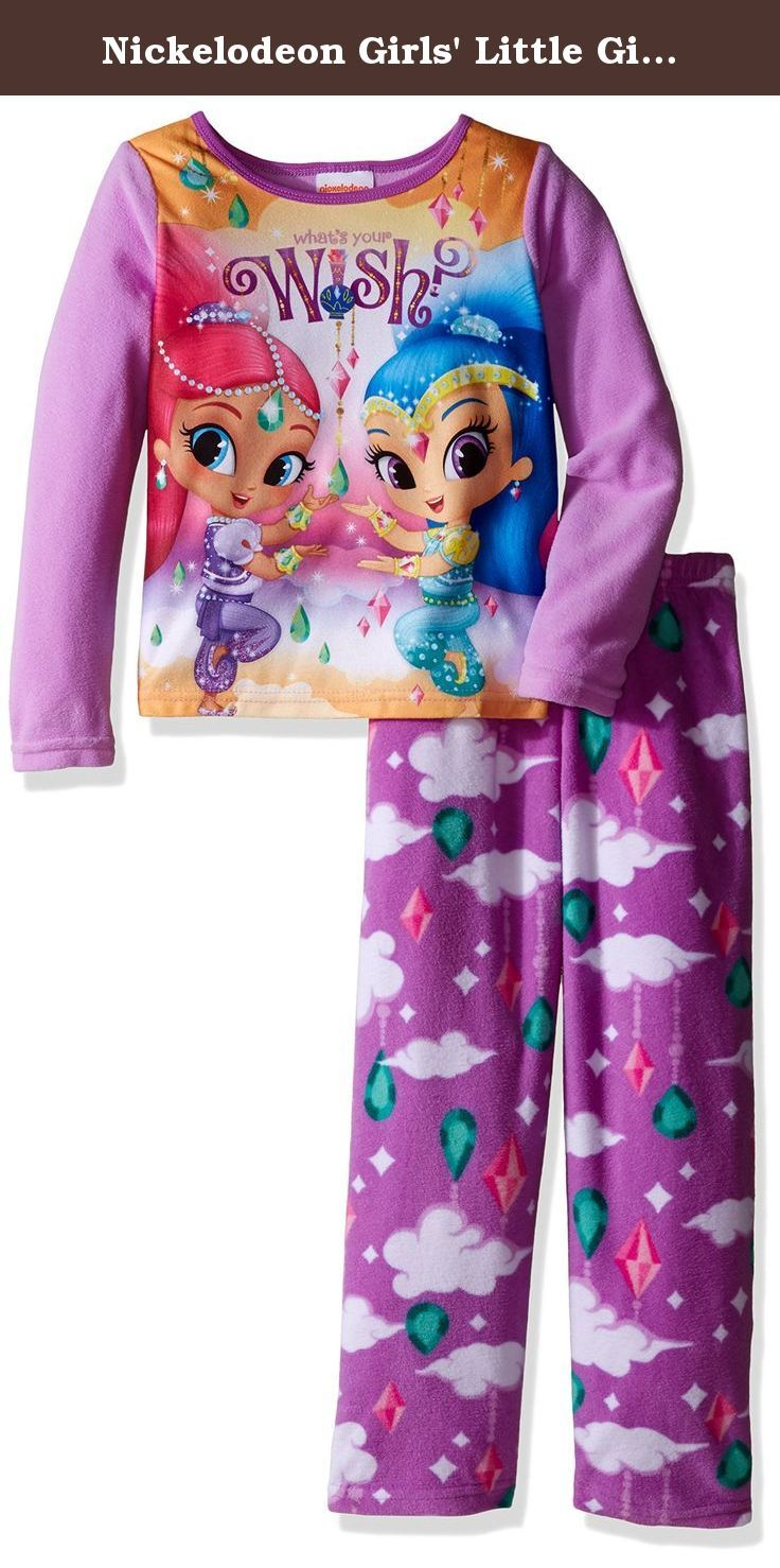 Nickelodeon Girls' Little Girls' Shimmer and Shine Fleece 2-Piece Pajama Set, Purple, 6. Cozy up in this extra soft shimmer and shine fleece pajama set The bright colors and fun graphics are sure to be a new bedtime favorite Perfect for sleeping and lounging.