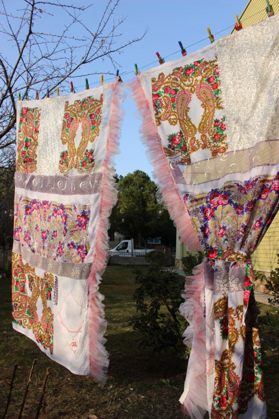 White Boho Curtain Hippie Curtain Ruffle Curtain by cocomiahome