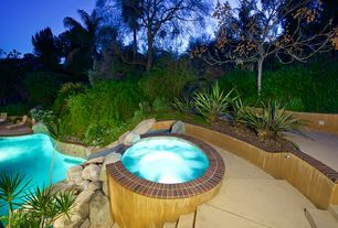 Southwestern Hot Tub with exterior brick floors, Gate, Pathway, Fence, Raised beds, exterior stone floors