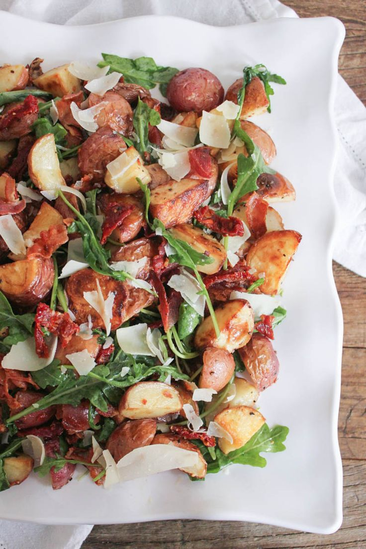 Roasted Potato Salad with Pancetta, Sun-Dried Tomatoes and Arugula. Crowd-pleasing, healthy, and unbelievably flavorful! #SummerSoiree #glutenfree #paleo