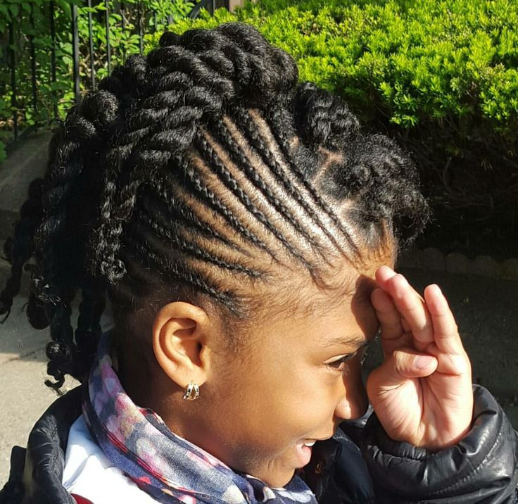 Cute Styled Cornrows With Boxed Twists-Mohawk