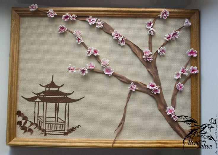 """Купить Декоративное панно """" Ветка сакуры"""" - бежевый, панно, панно на стену, панно настенное"""