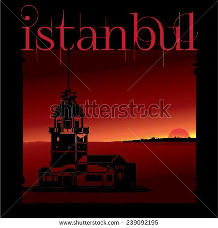 Vector illustration vintage Maiden Tower poster design - stock vector  #istanbul #landmark #maiden #middle #poster  #red #silhouette #tourism #touristic #tower #turkey #turkish
