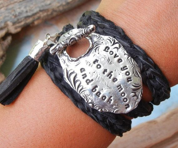 Custom Personalized Leather Wrap Bracelet by HappyGoLicky Jewelry. See www.HappyGoLickyJewelry.com for more designs.