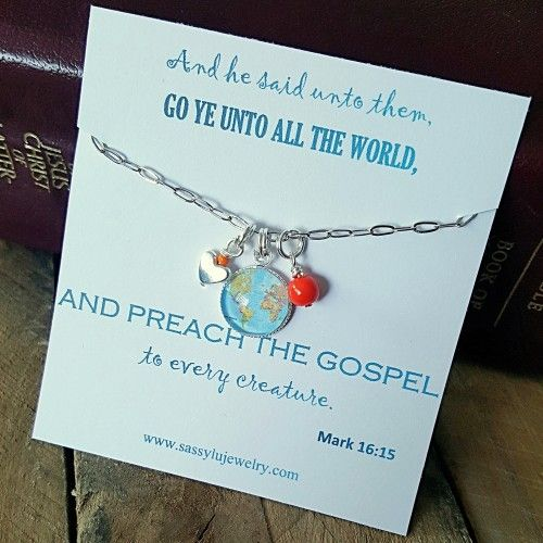 "Christian missionary necklace. This necklace is a beautiful reminder of the call to serve and preach the gospel. A simple 18""  silver link chain is adorned with a handmade ""globe"" charm and accented by a silver heart and bead in yo"