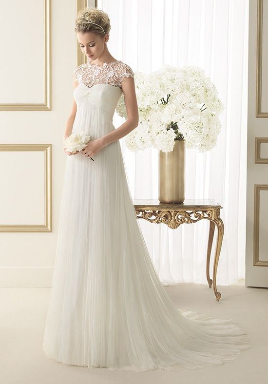 Soft draped tulle wedding gown with guipure lace cap for Lace sweetheart wedding dress cap sleeves