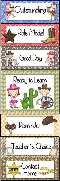 Western Cowboy Themed Behavior Clip Chart~ Classroom Management Tool