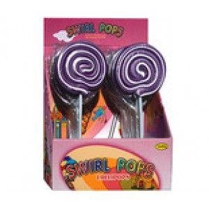 A bulk box of 16 Swirl Pops Purple. Each lollipop weighs approximately 80 grams.
